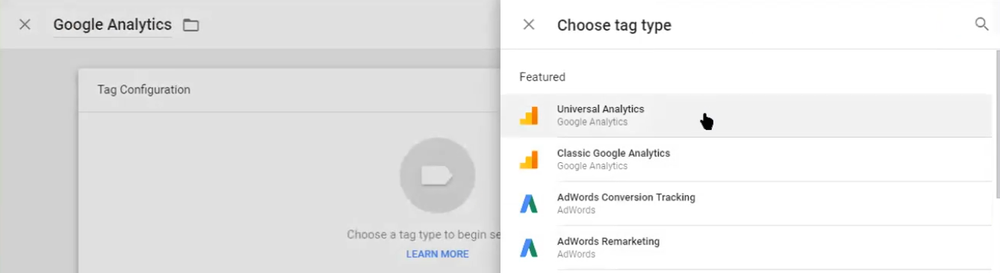 Select Universal Analytics tag type