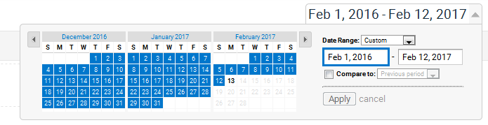 Google Analytics Date Range Picker