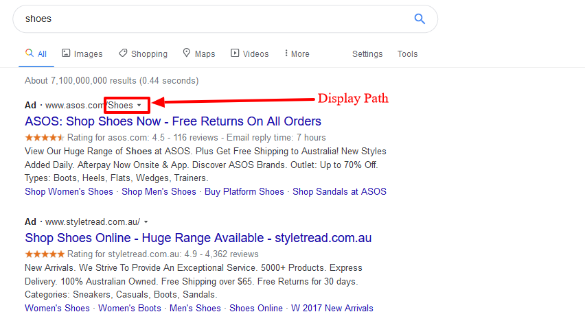 What does path 1 and path 2 (Display Path) mean in Google Ads?